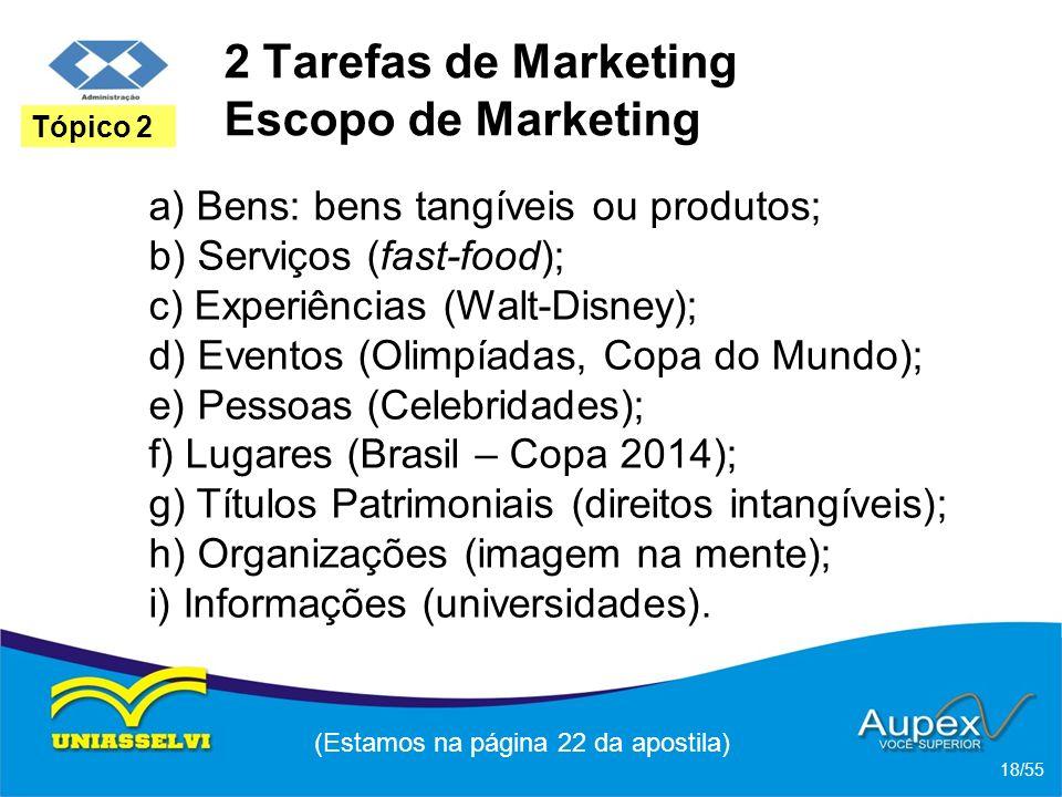 2 Tarefas de Marketing Escopo de Marketing a) Bens: bens tangíveis ou produtos; b) Serviços (fast-food); c) Experiências (Walt-Disney); d) Eventos (Ol