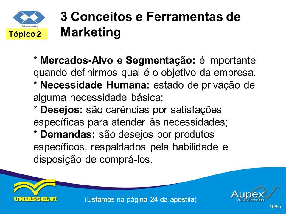 3 Conceitos e Ferramentas de Marketing * Mercados-Alvo e Segmentação: é importante quando definirmos qual é o objetivo da empresa. * Necessidade Human