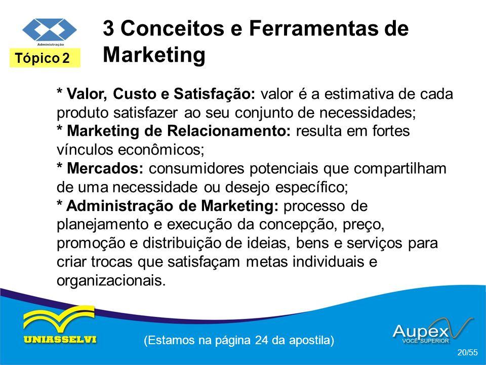 3 Conceitos e Ferramentas de Marketing * Valor, Custo e Satisfação: valor é a estimativa de cada produto satisfazer ao seu conjunto de necessidades; *