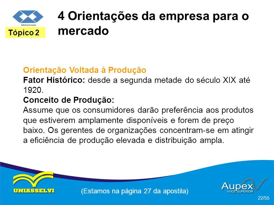 4 Orientações da empresa para o mercado Orientação Voltada à Produção Fator Histórico: desde a segunda metade do século XIX até 1920. Conceito de Prod