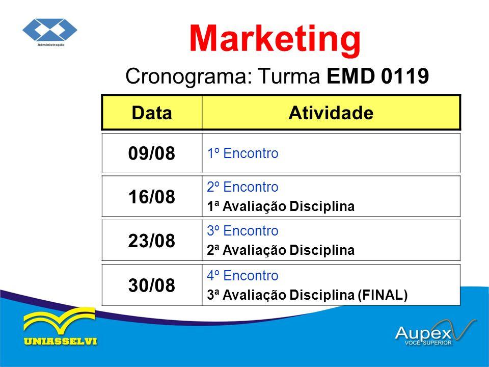 Cronograma: Turma EMD 0119 Marketing DataAtividade 16/08 2º Encontro 1ª Avaliação Disciplina 09/08 1º Encontro 23/08 3º Encontro 2ª Avaliação Discipli