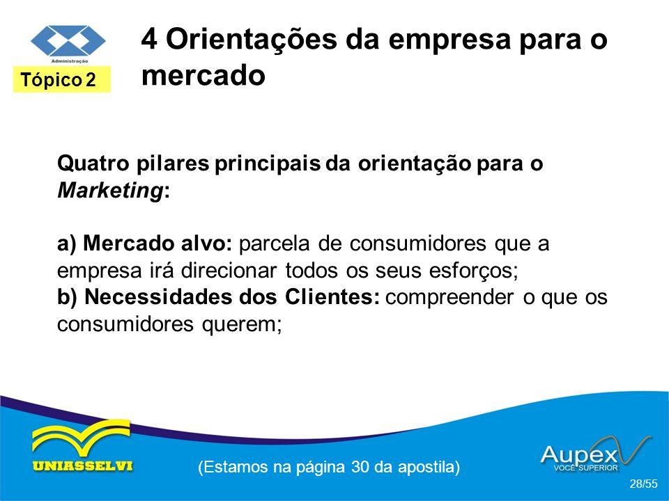 4 Orientações da empresa para o mercado Quatro pilares principais da orientação para o Marketing: a) Mercado alvo: parcela de consumidores que a empre