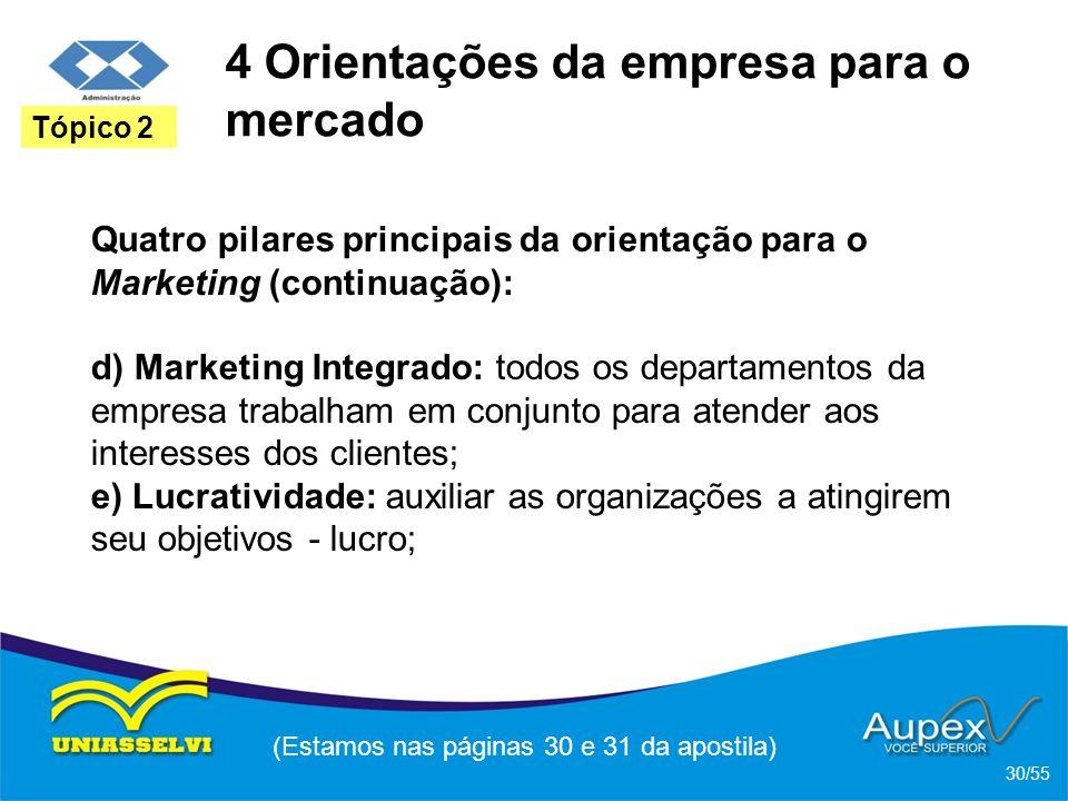 4 Orientações da empresa para o mercado Quatro pilares principais da orientação para o Marketing (continuação): d) Marketing Integrado: todos os depar