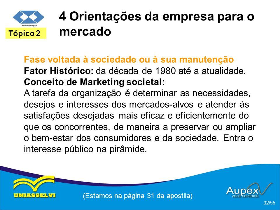 4 Orientações da empresa para o mercado Fase voltada à sociedade ou à sua manutenção Fator Histórico: da década de 1980 até a atualidade. Conceito de