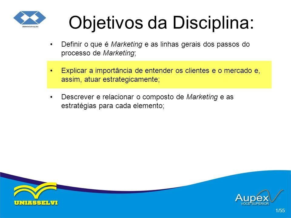 Objetivos da Disciplina: Definir o que é Marketing e as linhas gerais dos passos do processo de Marketing; 1/55 Explicar a importância de entender os