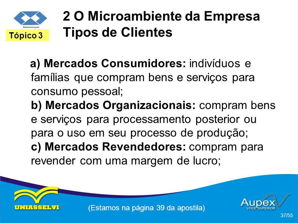 2 O Microambiente da Empresa Tipos de Clientes a) Mercados Consumidores: indivíduos e famílias que compram bens e serviços para consumo pessoal; b) Me