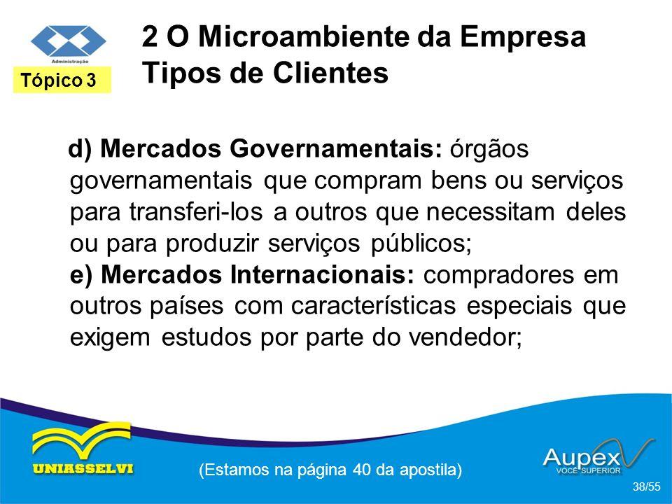 2 O Microambiente da Empresa Tipos de Clientes d) Mercados Governamentais: órgãos governamentais que compram bens ou serviços para transferi-los a out
