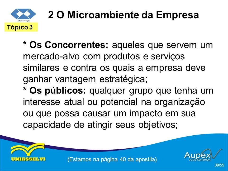 2 O Microambiente da Empresa * Os Concorrentes: aqueles que servem um mercado-alvo com produtos e serviços similares e contra os quais a empresa deve