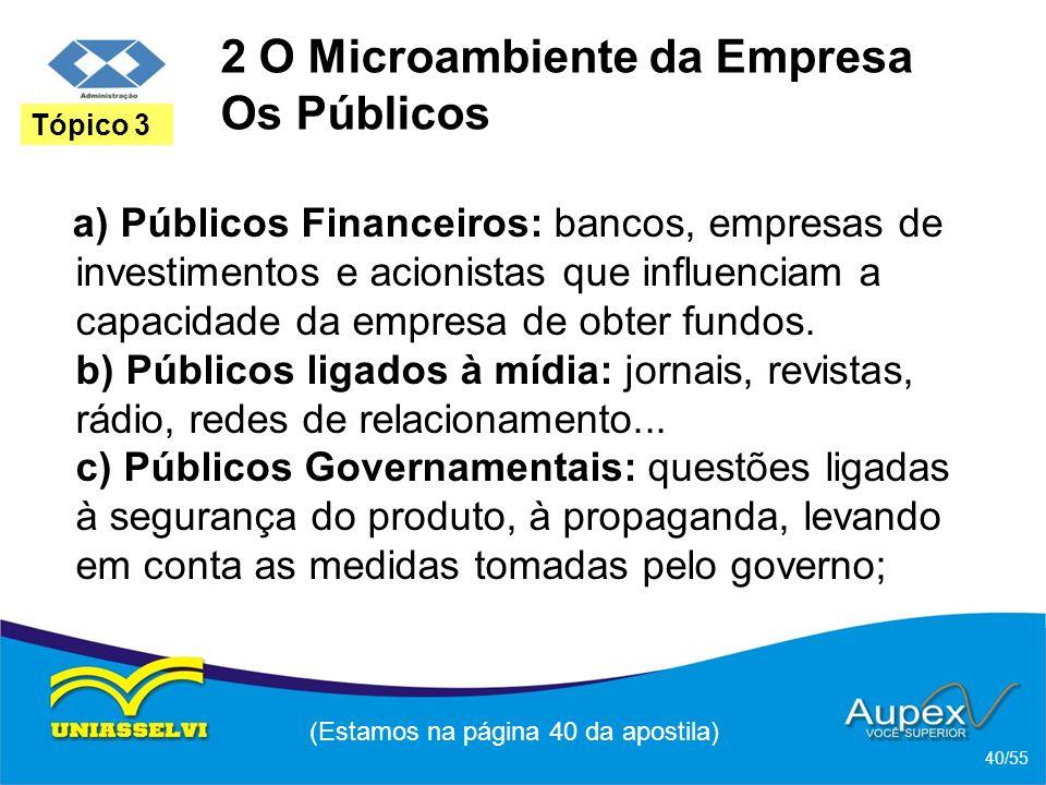 2 O Microambiente da Empresa Os Públicos a) Públicos Financeiros: bancos, empresas de investimentos e acionistas que influenciam a capacidade da empre