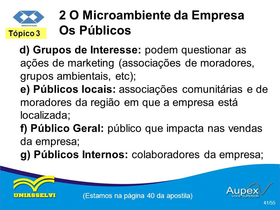 2 O Microambiente da Empresa Os Públicos d) Grupos de Interesse: podem questionar as ações de marketing (associações de moradores, grupos ambientais,