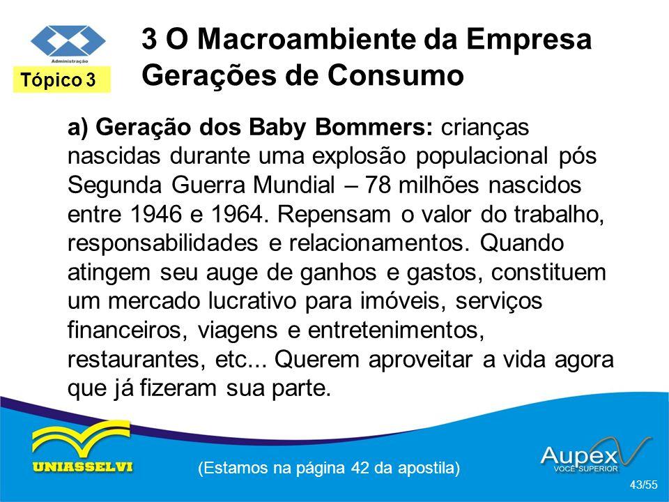3 O Macroambiente da Empresa Gerações de Consumo a) Geração dos Baby Bommers: crianças nascidas durante uma explosão populacional pós Segunda Guerra M