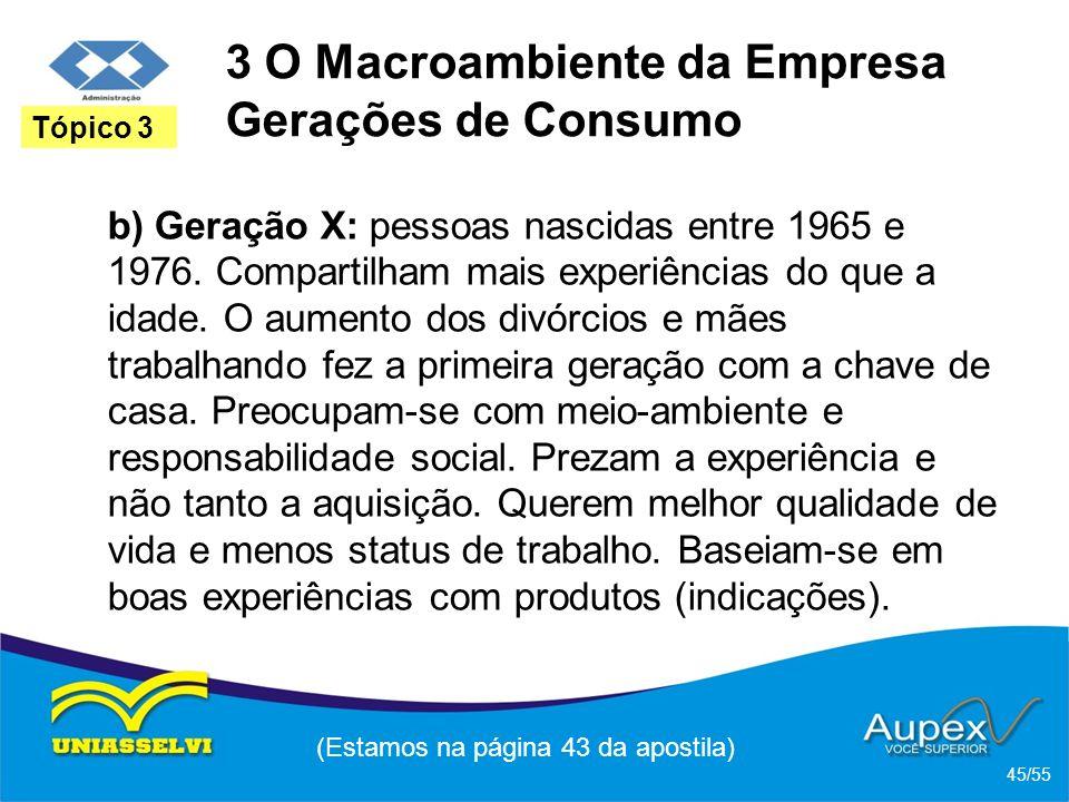 3 O Macroambiente da Empresa Gerações de Consumo b) Geração X: pessoas nascidas entre 1965 e 1976. Compartilham mais experiências do que a idade. O au