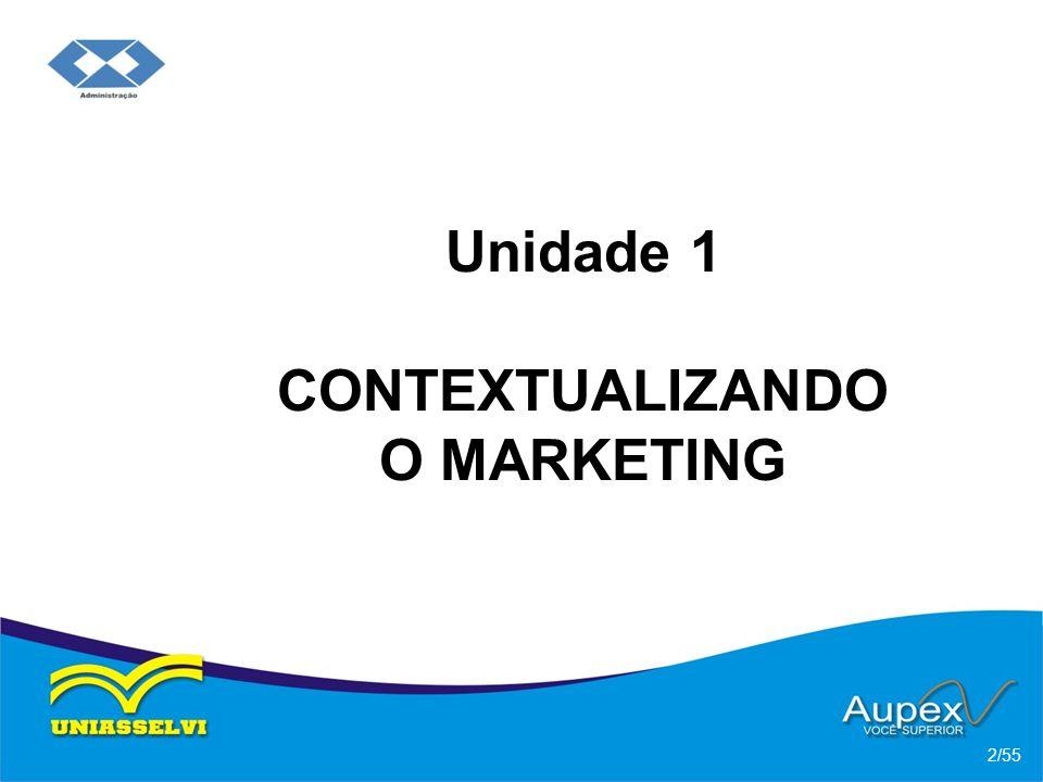 Objetivos da Unidade: Compreender os significados do Marketing e as relações existentes entre eles; 3/55 Apresentar as implicações do contexto de Marketing no século XXI; Ilustrar o ambiente de Marketing;