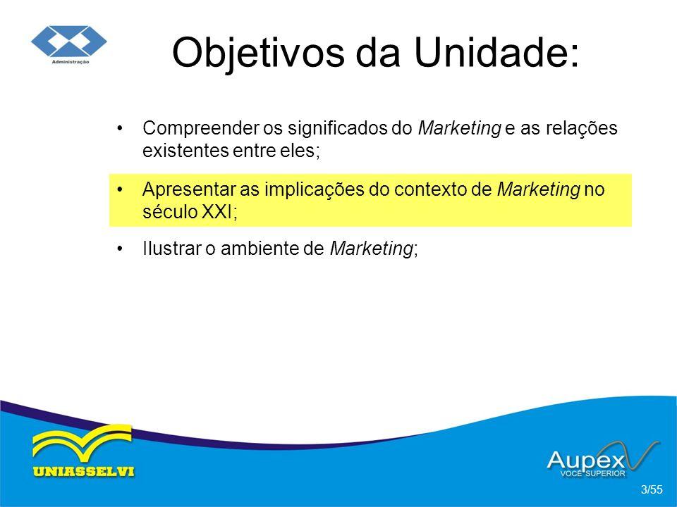 Objetivos da Unidade: Compreender os significados do Marketing e as relações existentes entre eles; 3/55 Apresentar as implicações do contexto de Mark