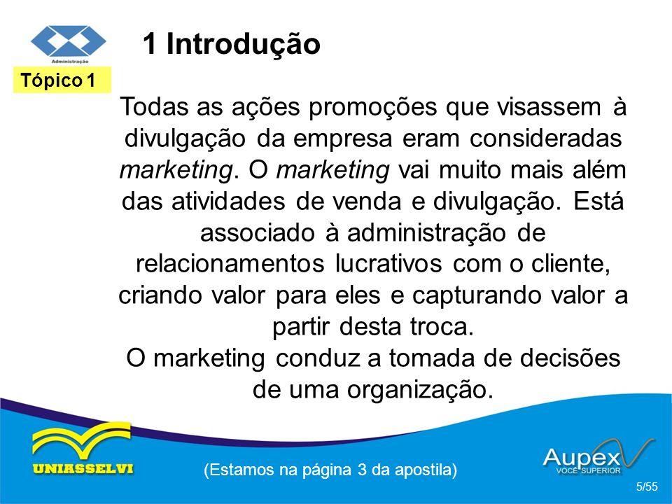 1 Introdução Todas as ações promoções que visassem à divulgação da empresa eram consideradas marketing. O marketing vai muito mais além das atividades