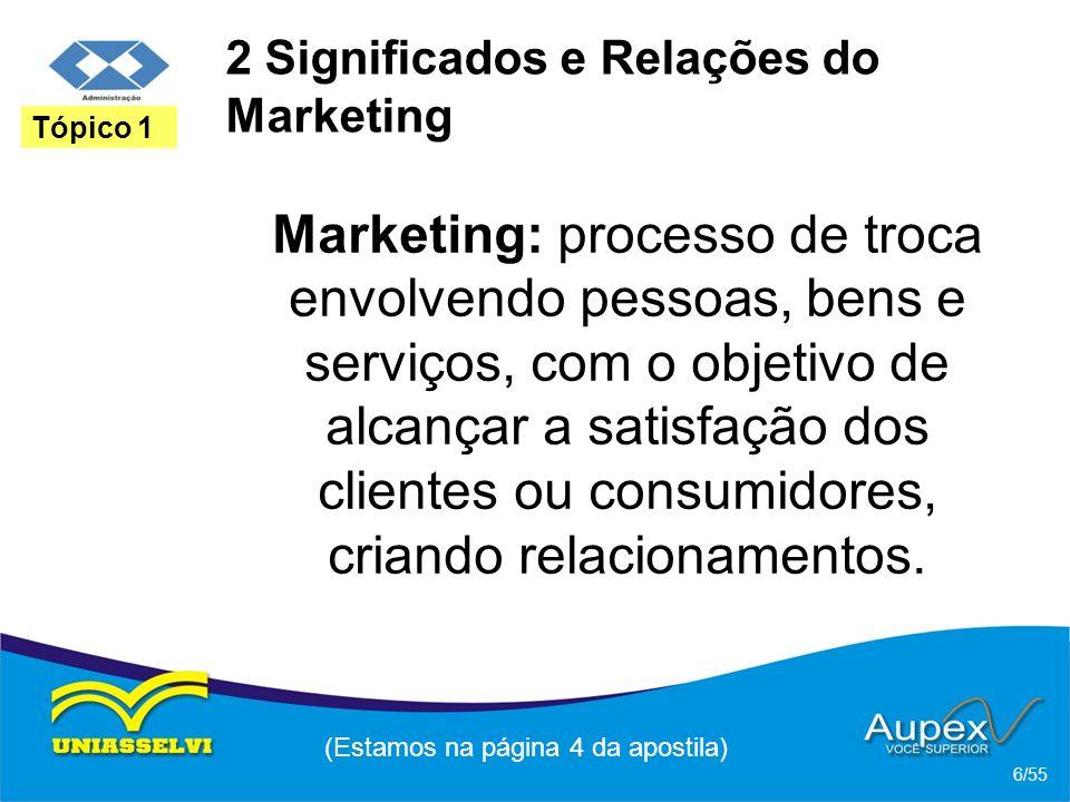2 O Microambiente da Empresa * Os Clientes: tipos de mercados de clientes que compram bens e serviços da empresa; (Estamos na página 39 da apostila) 36/55 Tópico 3