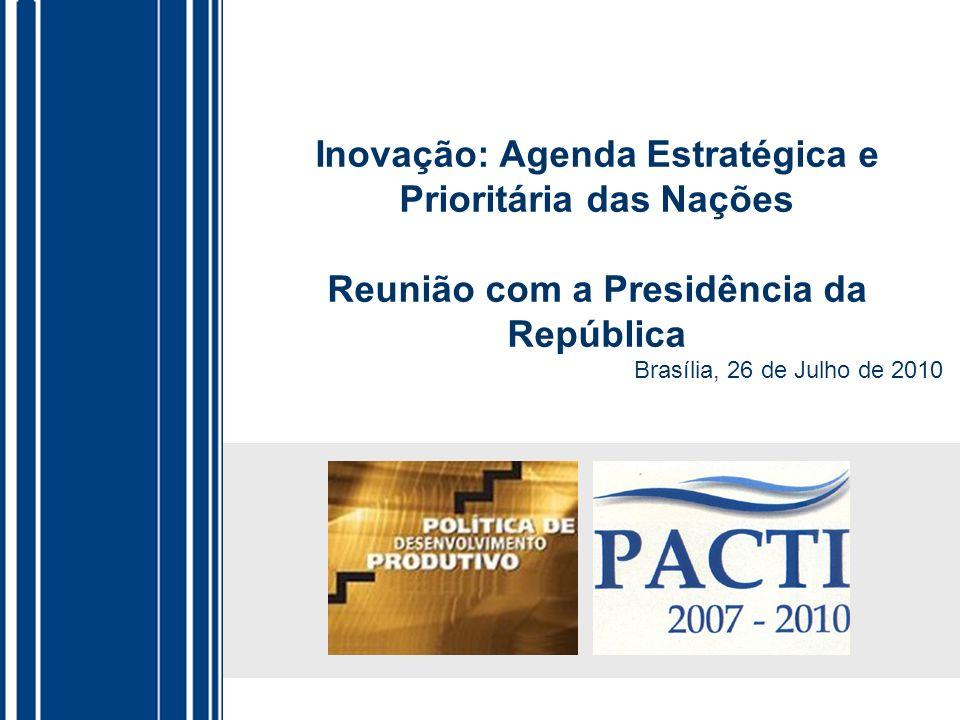 Estado: sustentáculo do protagonismo empresarial Apoio público ao gasto privado em P&D % PIB – 2005 Fonte: OCDE Incentivos Fiscais SubvençõesTotal EUA0,040,180,22 França0,050,120,17 Brasil (1)0,140,020,16 Japão0,120,030,15 Reino Unido0,050,090,14 Espanha0,030,080,11 Brasil (2)0,030,020,05 México0,040,010,05 (1) Dados de 2007 com a Lei de Informática; ( 2) Dados de 2007 sem a renúncia fiscal da Lei de Informática OMC reconhece a importância do Estado apoiar a inovação: Subsídios para inovação são não acionáveis.