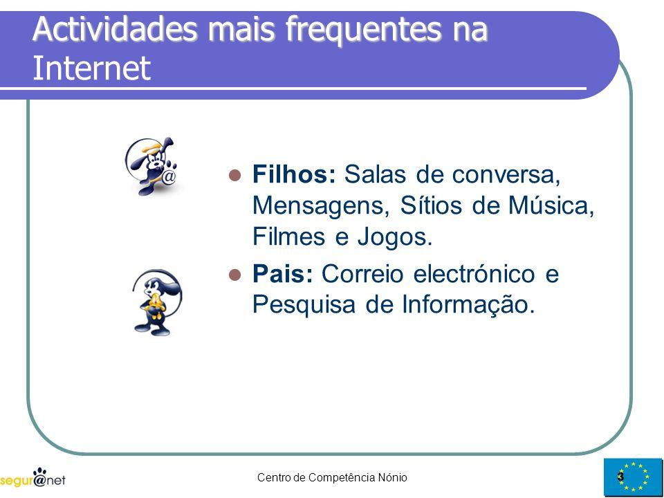 Centro de Competência Nónio3 Actividades mais frequentes na Actividades mais frequentes na Internet Filhos: Salas de conversa, Mensagens, Sítios de Mú