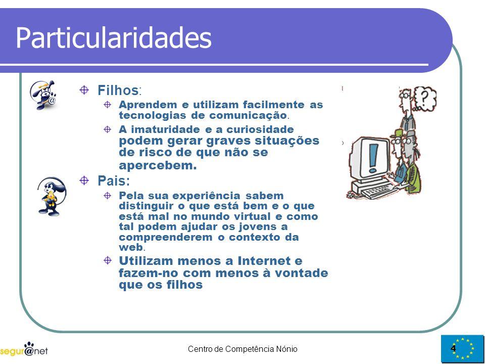 Centro de Competência Nónio4 Particularidades Filhos: Aprendem e utilizam facilmente as tecnologias de comunicação. A imaturidade e a curiosidade pode