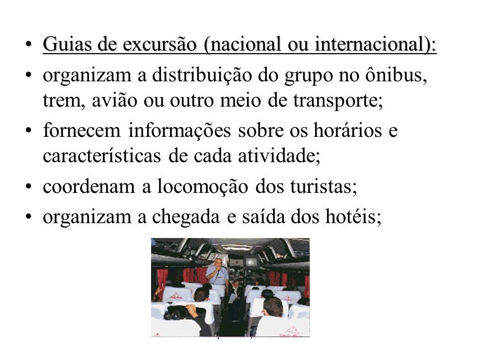 Apresentação I Guias de excursão (nacional ou internacional):Guias de excursão (nacional ou internacional): organizam a distribuição do grupo no ônibu
