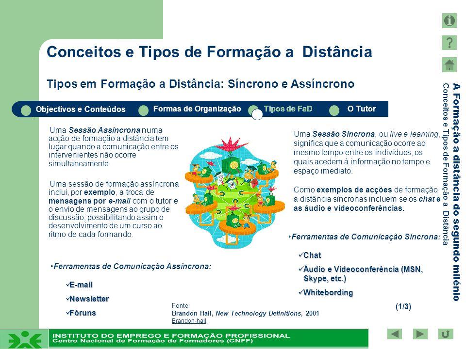 Objectivos e Conteúdos Formas de OrganizaçãoTipos de FaDO Tutor A Formação a distância do segundo milénio Conceitos e Tipos de Formação a Distância Um