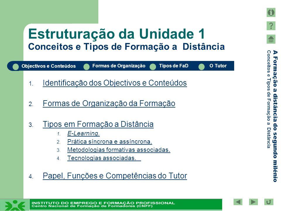 Objectivos e Conteúdos Formas de OrganizaçãoTipos de FaDO Tutor A Formação a distância do segundo milénio Conceitos e Tipos de Formação a Distância Tipos em Formação a Distância: Tecnologias Associadas Sistemas de Gestão da Aprendizagem Ferramentas de Concepção de Conteúdos Tipos de FaD (1/11)