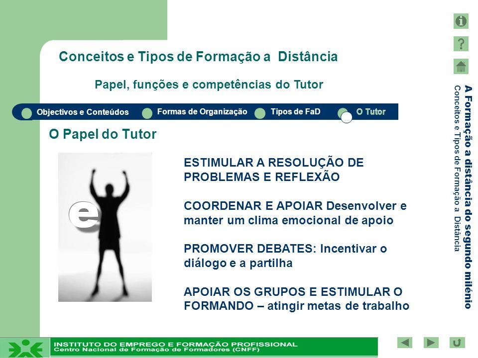 Objectivos e Conteúdos Formas de OrganizaçãoTipos de FaDO Tutor A Formação a distância do segundo milénio Conceitos e Tipos de Formação a Distância O