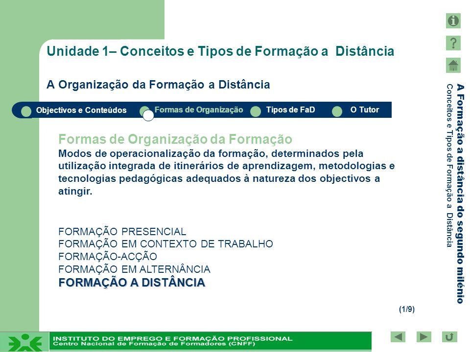 Objectivos e Conteúdos Formas de OrganizaçãoTipos de FaDO Tutor A Formação a distância do segundo milénio Conceitos e Tipos de Formação a Distância O Tutor Conceitos e Tipos de Formação a Distância Papel, funções e competências do Tutor FUNÇÕES DO TUTOR FUNÇÕES DO TUTOR (1/3) FACILITADOR DA APRENDIZAGEM ORGANIZADOR AGENTE DE SOCIALIZAÇÃO POTENCIADOR DAS ACTIVIDADES