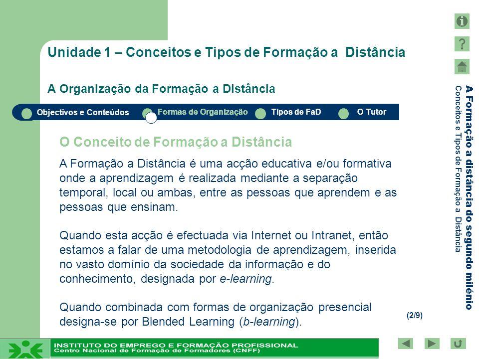 Objectivos e Conteúdos Formas de OrganizaçãoTipos de FaDO Tutor A Formação a distância do segundo milénio Conceitos e Tipos de Formação a Distância Formas de Organização Materiais Componentes Estratégicos da Formação a Distância Sistemas de Interacção Avaliação Formadores Tecnologia Relações Dinâmicas na Formação a Distância Unidade 1 – Conceitos e Tipos de Formação a Distância A Organização da Formação a Distância (3/9)