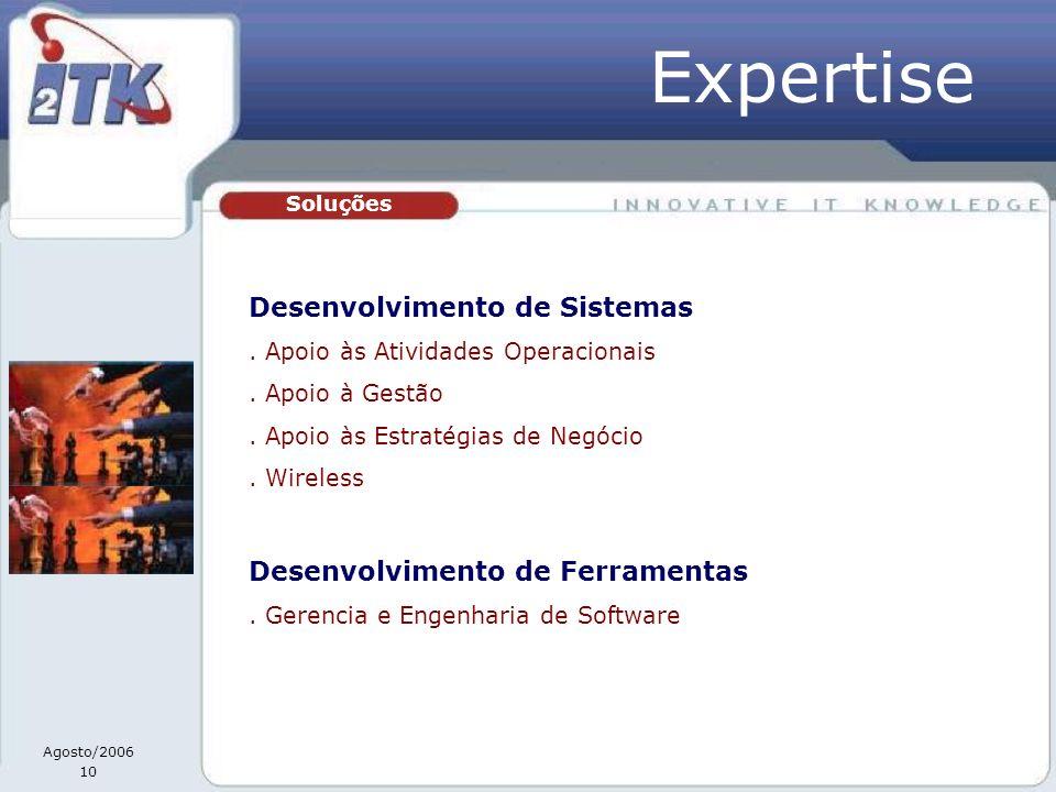 Agosto/2006 10 Soluções Desenvolvimento de Sistemas. Apoio às Atividades Operacionais. Apoio à Gestão. Apoio às Estratégias de Negócio. Wireless Desen