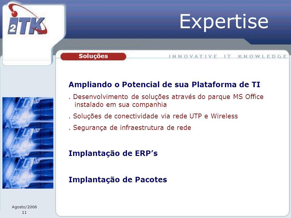 Agosto/2006 11 Soluções Ampliando o Potencial de sua Plataforma de TI. Desenvolvimento de soluções através do parque MS Office instalado em sua compan