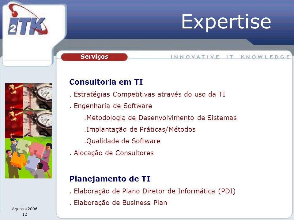 Agosto/2006 12 Serviços Consultoria em TI. Estratégias Competitivas através do uso da TI. Engenharia de Software.Metodologia de Desenvolvimento de Sis