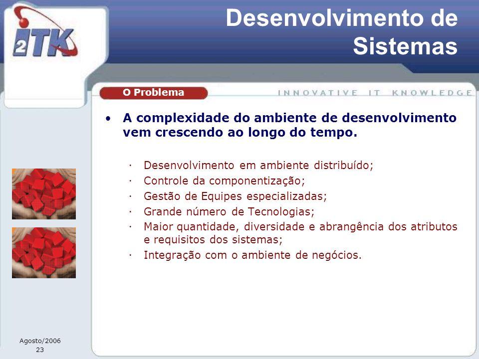 Agosto/2006 23 Desenvolvimento de Sistemas A complexidade do ambiente de desenvolvimento vem crescendo ao longo do tempo. Desenvolvimento em ambiente