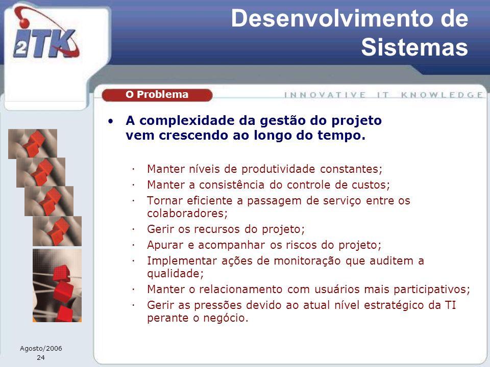 Agosto/2006 24 A complexidade da gestão do projeto vem crescendo ao longo do tempo. Manter níveis de produtividade constantes; Manter a consistência d