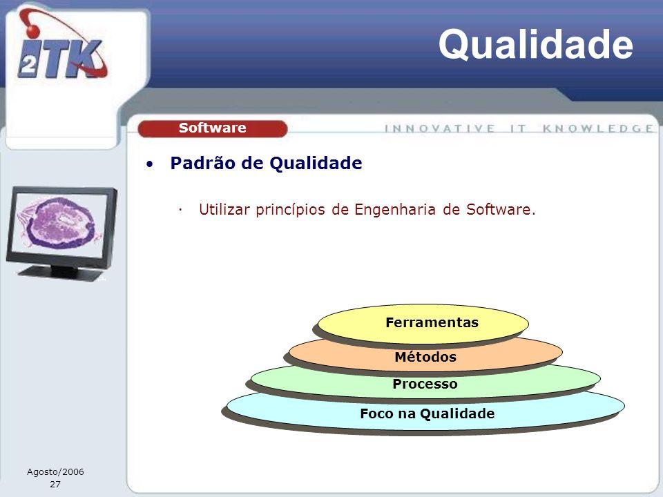 Agosto/2006 27 Qualidade Padrão de Qualidade Utilizar princípios de Engenharia de Software. Software Foco na Qualidade Processo Métodos Ferramentas