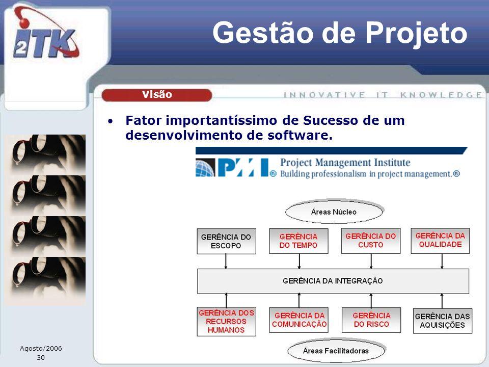 Agosto/2006 30 Gestão de Projeto Fator importantíssimo de Sucesso de um desenvolvimento de software. Visão
