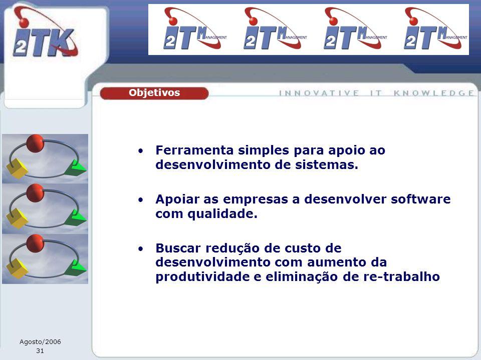 Agosto/2006 31 Ferramenta simples para apoio ao desenvolvimento de sistemas. Apoiar as empresas a desenvolver software com qualidade. Buscar redução d