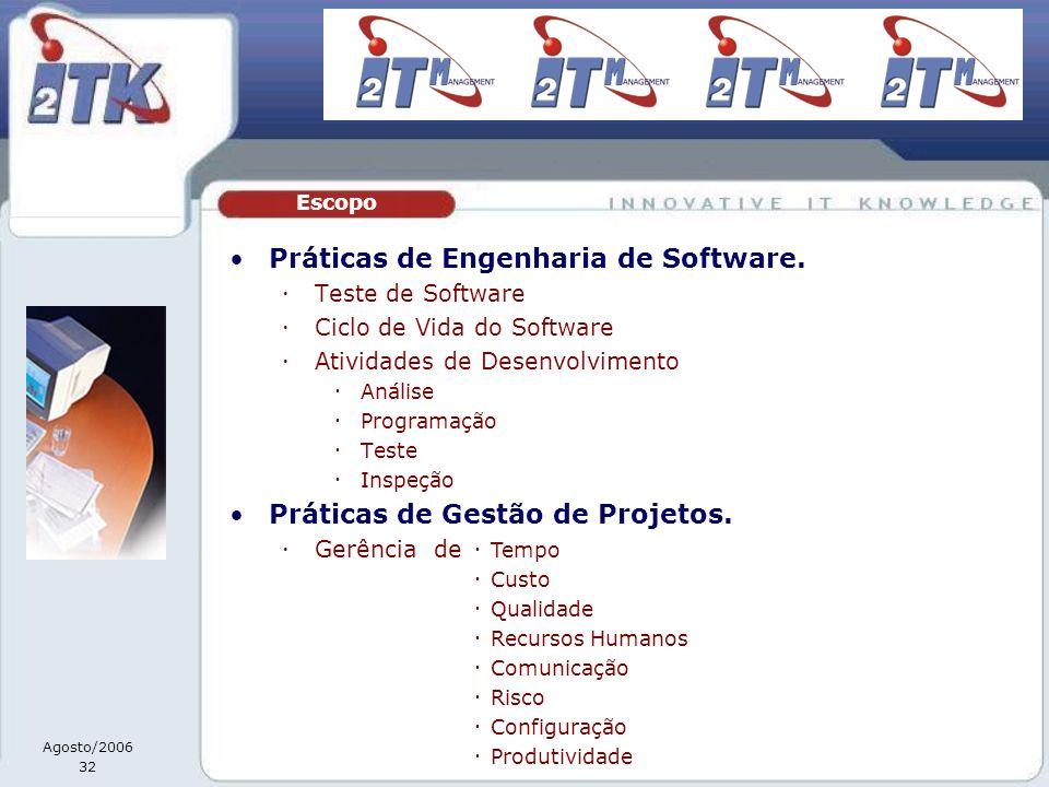 Agosto/2006 32 Práticas de Engenharia de Software. Teste de Software Ciclo de Vida do Software Atividades de Desenvolvimento Análise Programação Teste