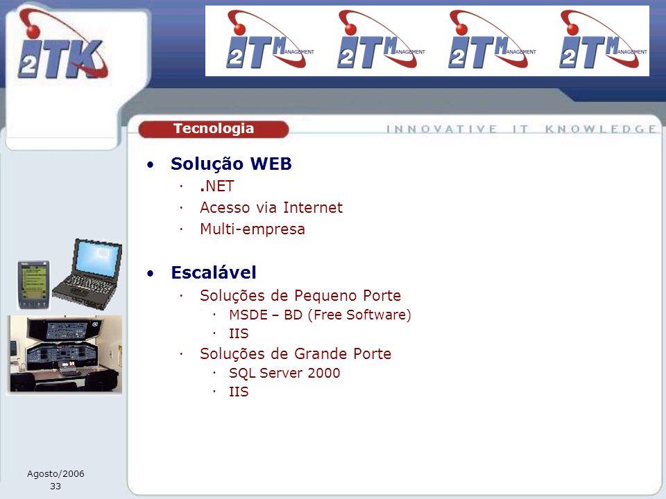 Agosto/2006 33 Solução WEB.NET Acesso via Internet Multi-empresa Escalável Soluções de Pequeno Porte MSDE – BD (Free Software) IIS Soluções de Grande Porte SQL Server 2000 IIS Tecnologia