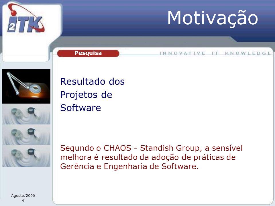 Agosto/2006 4 Resultado dos Projetos de Software Pesquisa Segundo o CHAOS - Standish Group, a sensível melhora é resultado da adoção de práticas de Ge
