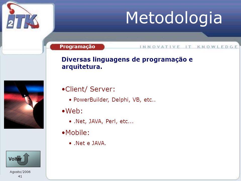 Agosto/2006 41 Programação Metodologia Diversas linguagens de programação e arquitetura. Client/ Server: PowerBuilder, Delphi, VB, etc.. Web:.Net, JAV
