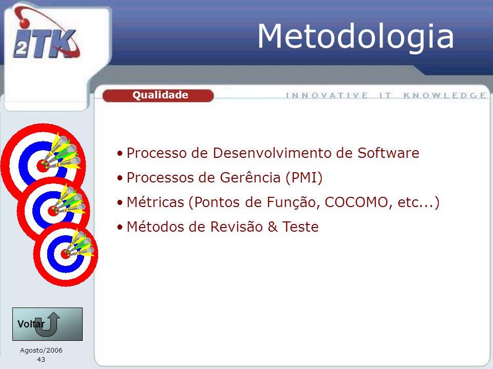 Agosto/2006 43 Qualidade Metodologia Processo de Desenvolvimento de Software Processos de Gerência (PMI) Métricas (Pontos de Função, COCOMO, etc...) Métodos de Revisão & Teste Voltar