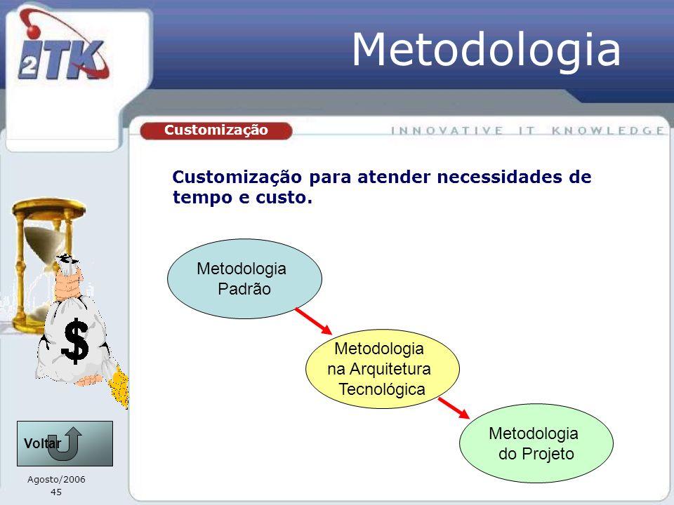 Agosto/2006 45 Customização Metodologia Customização para atender necessidades de tempo e custo. Metodologia Padrão Metodologia na Arquitetura Tecnoló