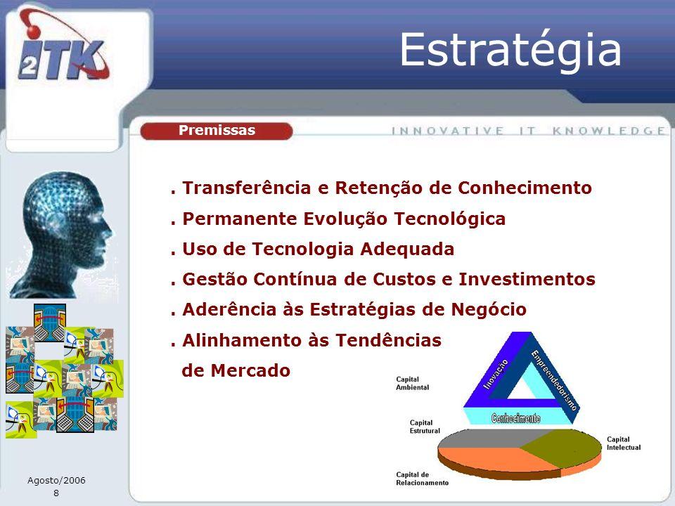 Agosto/2006 8 Premissas Estratégia. Transferência e Retenção de Conhecimento. Permanente Evolução Tecnológica. Uso de Tecnologia Adequada. Gestão Cont