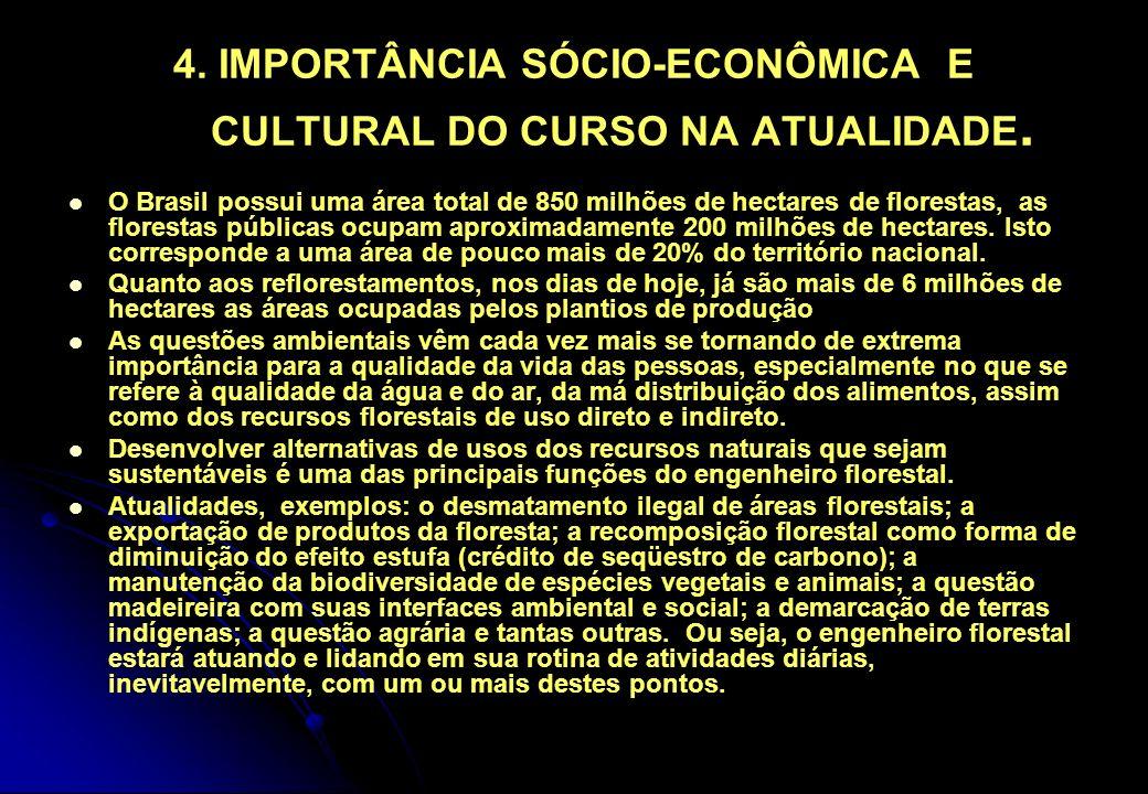 4. IMPORTÂNCIA SÓCIO-ECONÔMICA E CULTURAL DO CURSO NA ATUALIDADE. O Brasil possui uma área total de 850 milhões de hectares de florestas, as florestas