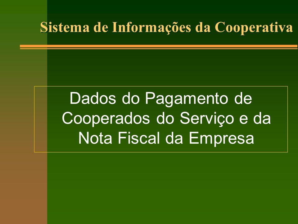 Sistema de Informações da Cooperativa Dados do Pagamento de Cooperados do Serviço e da Nota Fiscal da Empresa