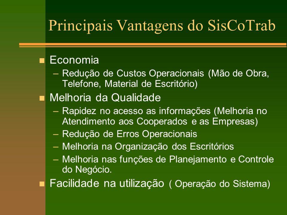 Principais Vantagens do SisCoTrab n Economia –Redução de Custos Operacionais (Mão de Obra, Telefone, Material de Escritório) n Melhoria da Qualidade –