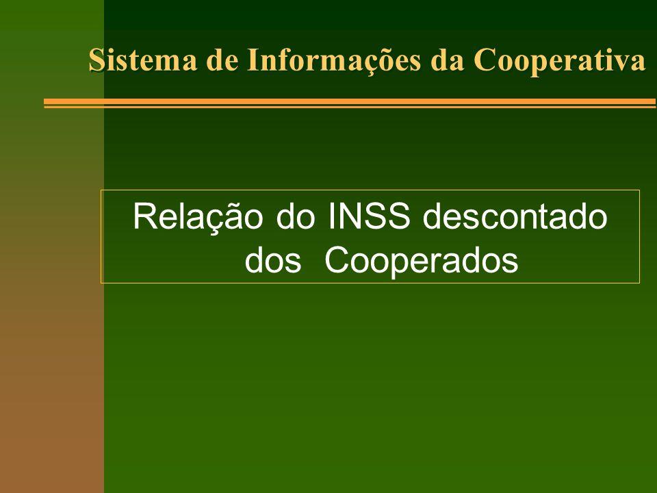 Sistema de Informações da Cooperativa Relação do INSS descontado dos Cooperados