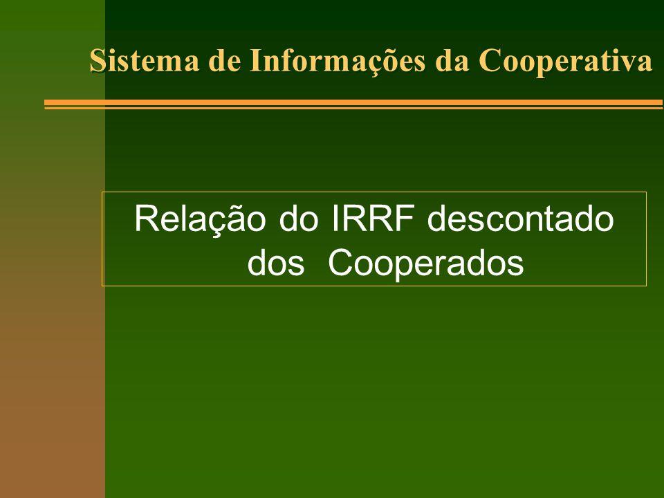 Sistema de Informações da Cooperativa Relação do IRRF descontado dos Cooperados