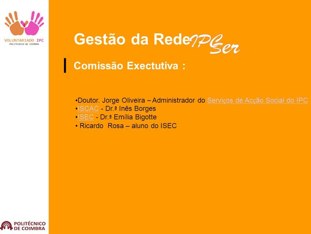 Gestão da Rede Comissão Exectutiva : Doutor. Jorge Oliveira – Administrador do Servi ç os de Ac ç ão Social do IPCServi ç os de Ac ç ão Social do IPC